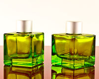 Green square bottles Royalty Free Stock Photo