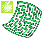 Green square and deformed maze (10x10) Royalty Free Stock Photos