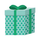 Green square gift box present ribbon dots Royalty Free Stock Image
