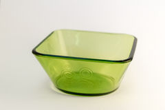 Green square glass bowl Royalty Free Stock Images