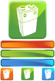 Green Square Icon - 9V Battery. A set of icon square buttons - 9 volt battery vector illustration