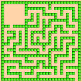 Green square maze-mosaic (13x13) Stock Image