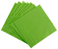 Green square paper serviette (tissue). Isolated on white Stock Photos