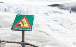 Green square sign - Warning for risk of falling Royalty Free Stock Photos