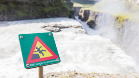 Green square sign - Warning for risk of falling Royalty Free Stock Images