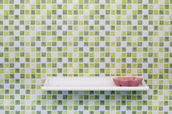 Green Square Tile Wall with Shelve and Soap Dish Royalty Free Stock Photography