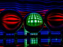 Green Square with Warped Red Light Reflecting in the Lensballs stock image