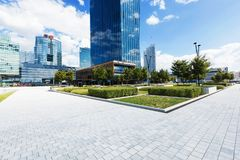 Green square in Wien. Green square and modern building around in Wien Royalty Free Stock Images