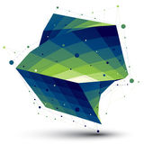 Green squared abstract 3D shape, colorful twisted vector digital. Lattice object Stock Photography