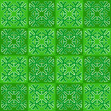 Green squares with ornament. seamless Royalty Free Stock Photo