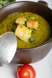 Green squash soup with parsley and croutons Royalty Free Stock Photo
