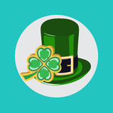 Green st patrick hat with lucky clover flat design Stock Photo