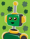 Green St. Patrick Robot Portrait with Clovers Stock Images