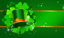 Green St. Patrick`s day background with hat and clover Stock Photography