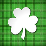 Green St. Patrick`s day card with shamrock. Vector illustration. Stock Photos