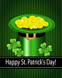 Green St. Patrick's Day hat with clover and coins. Stock Image