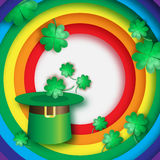 Green St. Patrick's Day hat with clover. Hat of a leprechaun with rainbow. Stock Photos