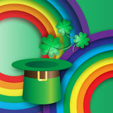 Green St. Patrick's Day with hat, rainbow and clover. Royalty Free Stock Photography