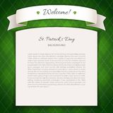 Green St Patricks Day Background with Copy Space Royalty Free Stock Photography