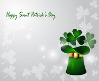 Green St Patricks Day hat with clover Stock Photos