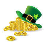 Green St. Patricks Day hat with shamrock on gold coin Stock Photo