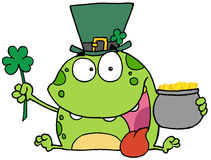 Green St Patricks Day Leprechaun Frog Wearing A Ha. T, Holding A Clover And A Pot Of Gold stock illustration
