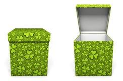 Green St. Patricks Day present box Stock Photos