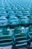 Green stadium seats in a baseball stadium. Stock Photo