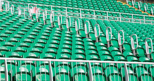 Green stadium seats Stock Photo