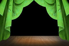 Green Stage curtain Royalty Free Stock Photo