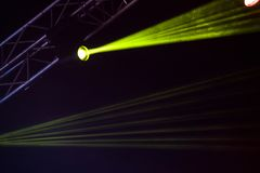 Green stage lights. Illumination with spotlights at a concert Royalty Free Stock Photography