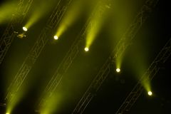 Green stage lights. Illumination with spotlights at a concert Stock Photo