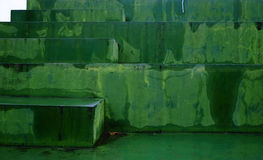Green stairs. Painted and washed green stairs stock photos
