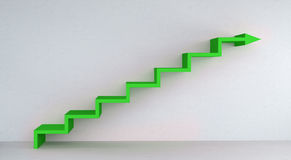 Green stairs arrow going up on concrete wall 3D rendering. Green stairs arrow going up on concrete wall and bright interior 3D rendering Royalty Free Stock Image