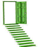 Green stairs and open doors Royalty Free Stock Photo