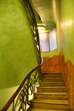Green Stairwell with Ornate Railing in Casa Mila royalty free stock photo