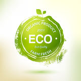 Green stamp drawing label for organic product Royalty Free Stock Images