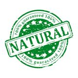 Green Stamp - natural. Damaged round green stamp with the words - natural - illustration Stock Photo