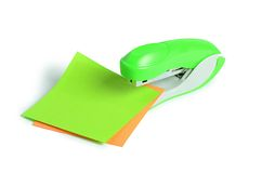 Green stapler isolated on white background Royalty Free Stock Photos