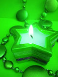 Green star candle Royalty Free Stock Photography