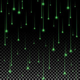 Green star fall. Green glowing starfall abstract background. Ready for your design. Vector Illustration Stock Images
