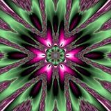 Green star mandala, abstract dark flower in pink and green, spring pattern. Green star mandala, abstract dark flower in pink and green royalty free illustration