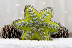 Green Star Ornament and Pine Cones In Snow Royalty Free Stock Image