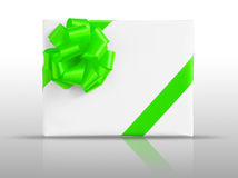 Green star ribbon on White paper box Stock Image