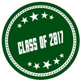 Green 5 star stamp with CLASS OF 2017 . Illustration concept image Royalty Free Stock Photos