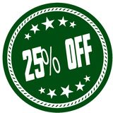 Green 5 star stamp with 25 PERCENT OFF . Illustration concept image Stock Photography
