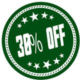 Green 5 star stamp with 30 PERCENT OFF . Illustration concept image Royalty Free Stock Photography