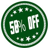 Green 5 star stamp with 50 PERCENT OFF . Illustration concept image Stock Image