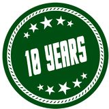 Green 5 star stamp with 10 YEARS . Illustration concept image Stock Illustration