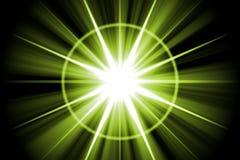 Green Star Sunburst Abstract Stock Image